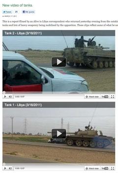 Vídeos mostrando el movimiento de tanques en Alive in Libya