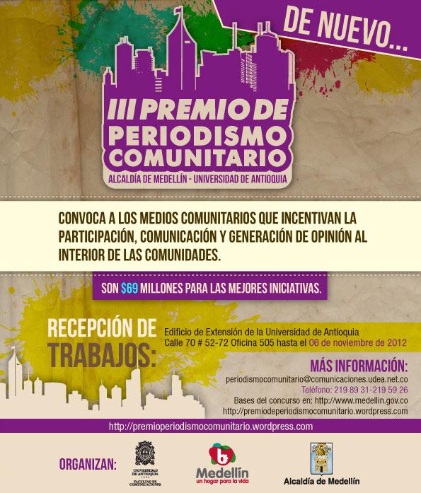 Convocatoria III Premio de Periodismo Comunitario de Medellín