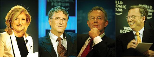 Arianna Huffington, Bill Gates, Tony Blair y Eric Schmidt