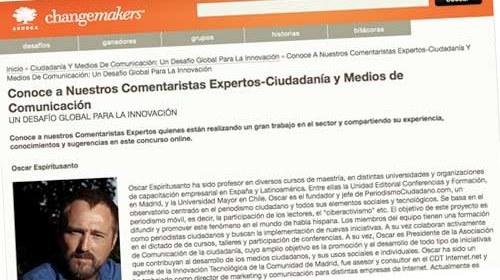 """Periodismo Ciudadano colabora con Ashoka Changemakers en el """"Desafío Global Para La Innovación"""""""