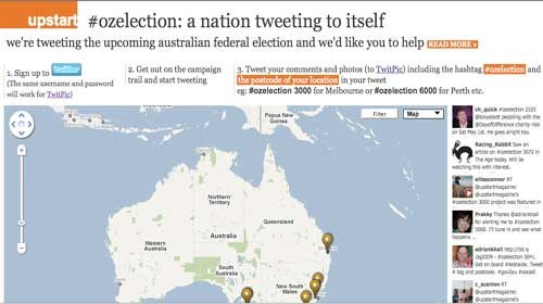 Periodismo ciudadano +Twitter + Google Maps = Upstart #ozelection