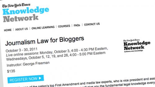 The New York Times programa un curso sobre leyes para bloggers