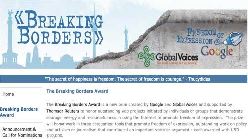 "Global Voices y Google lanzan el ""Premio Breaking Borders"" a la libertad de expresión en la red"