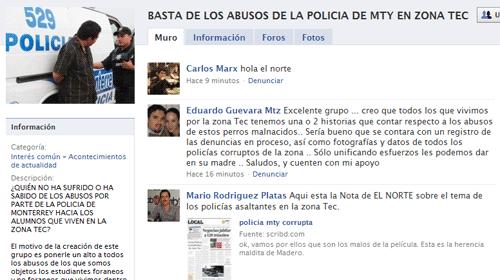 Estudiantes denuncian en Facebook los abusos de la policía de Monterrey