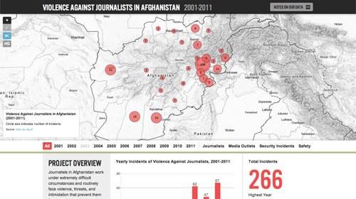 Un mapa de la violencia contra periodistas en Afganistán