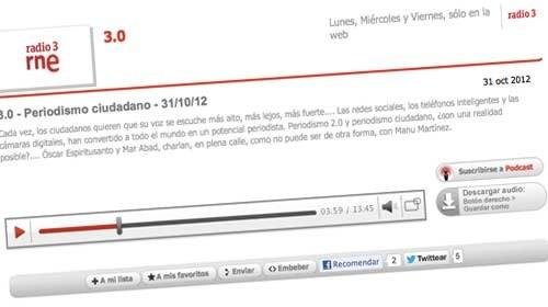 Periodismo Ciudadano a debate en 3.0 de Radio 3