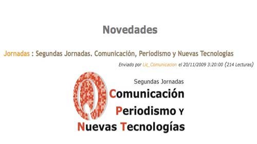 """Periodismociudadano.com en las """"2ª Jornadas: Comunicación, Periodismo y Nuevas Tecnologías"""""""