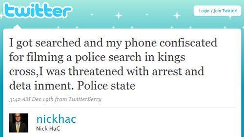 Ciudadano amenazado en Australia con aplicarle la ley anti-terrorista por filmar a la policía con su BlackBerry