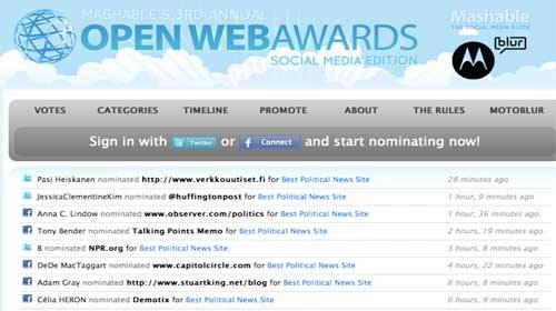 """Demotix y The Huffington Post nominados en la 3ª edición de los """"Open Web Awards: Social Media Edition"""""""