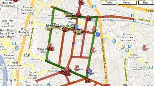 Twitter y Google Map aglutinan la información sobre las protestas en Tailandia