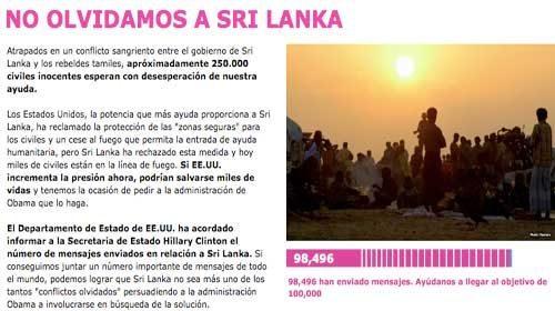 Avaaz.org inicia una campaña para proteger la vida de miles de civiles en Sri Lanka