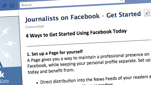 """Facebook lanza """"Journalists on Facebook"""", una página de recursos para periodistas"""