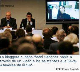 Yoani Sánchez y Francis Pisani en la 64ª Asamblea de la Sociedad Interamericana de Prensa (SIP)