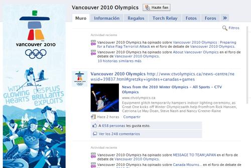 Página en Facebook de los Juegos de Vancouver