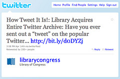 Tweet de la Biblioteca del Congreso de EE.UU.