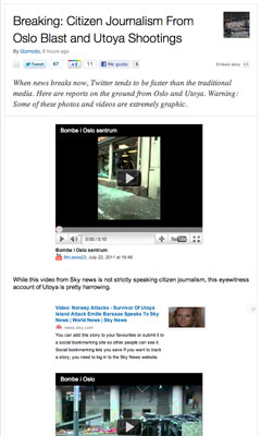 Storify de Gizmodo sobre los atentados de Noruega