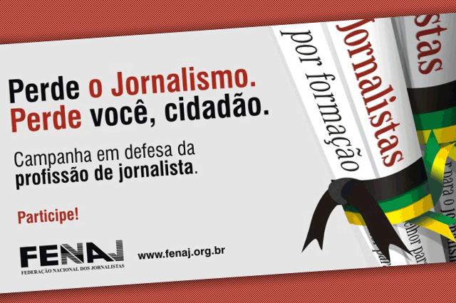 Cartel de la campaña de la FENAJ|Carnet de periodista|