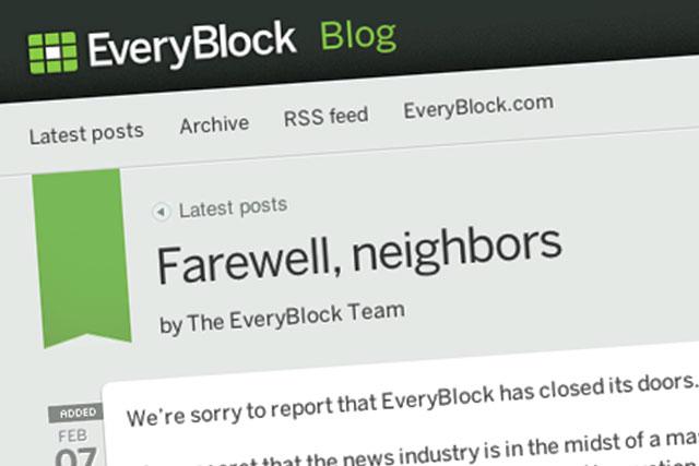 Anuncio de cierre de EveryBlock|EveryBlock cierra|