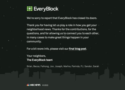Anuncio de cierre de EveryBlock