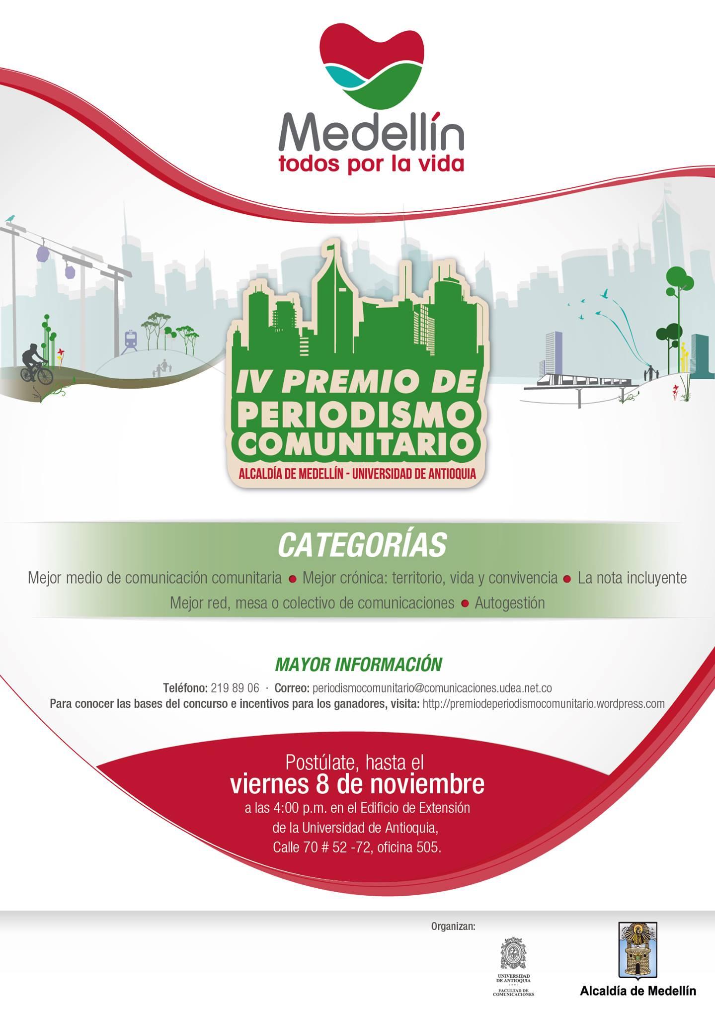 |IV Premio de Periodismo Comunitario Municipio de Medellín - Universidad de Antioquia