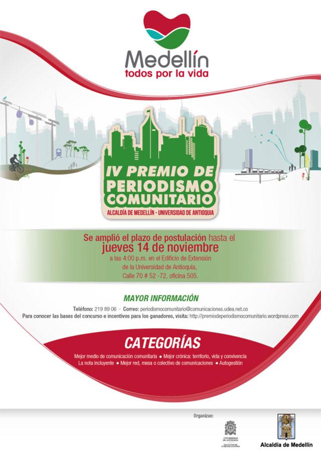 IV Premio de PeriodismoComunitario de Medellín