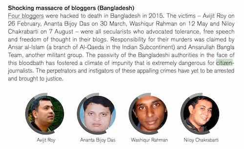 110 periodistas profesionales y 27 periodistas ciudadanos asesinados en 2015 según RSF