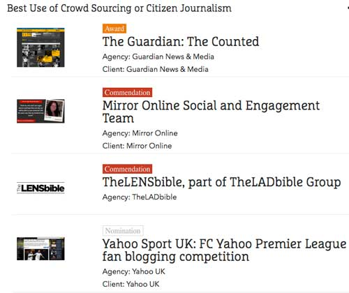 The Counted: premio al mejor uso del #CrowdSourcing o #Periodismociudadano en los #OnlineMediaAwards